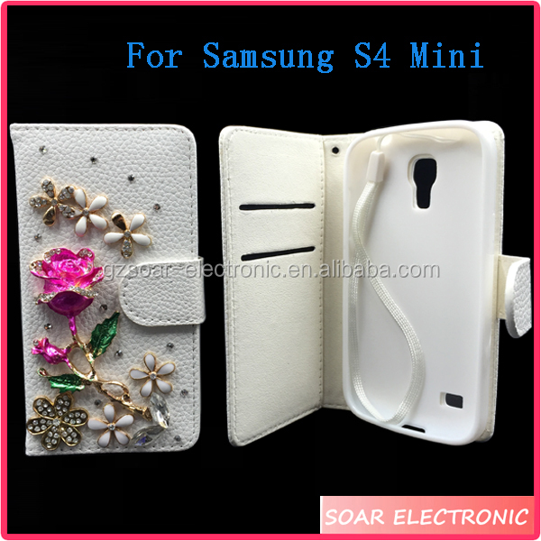 Fashionable Mobile Phone Cases Bling Protective Leather Case For Samsung Galaxy S4 Mini Flip Wallet Case