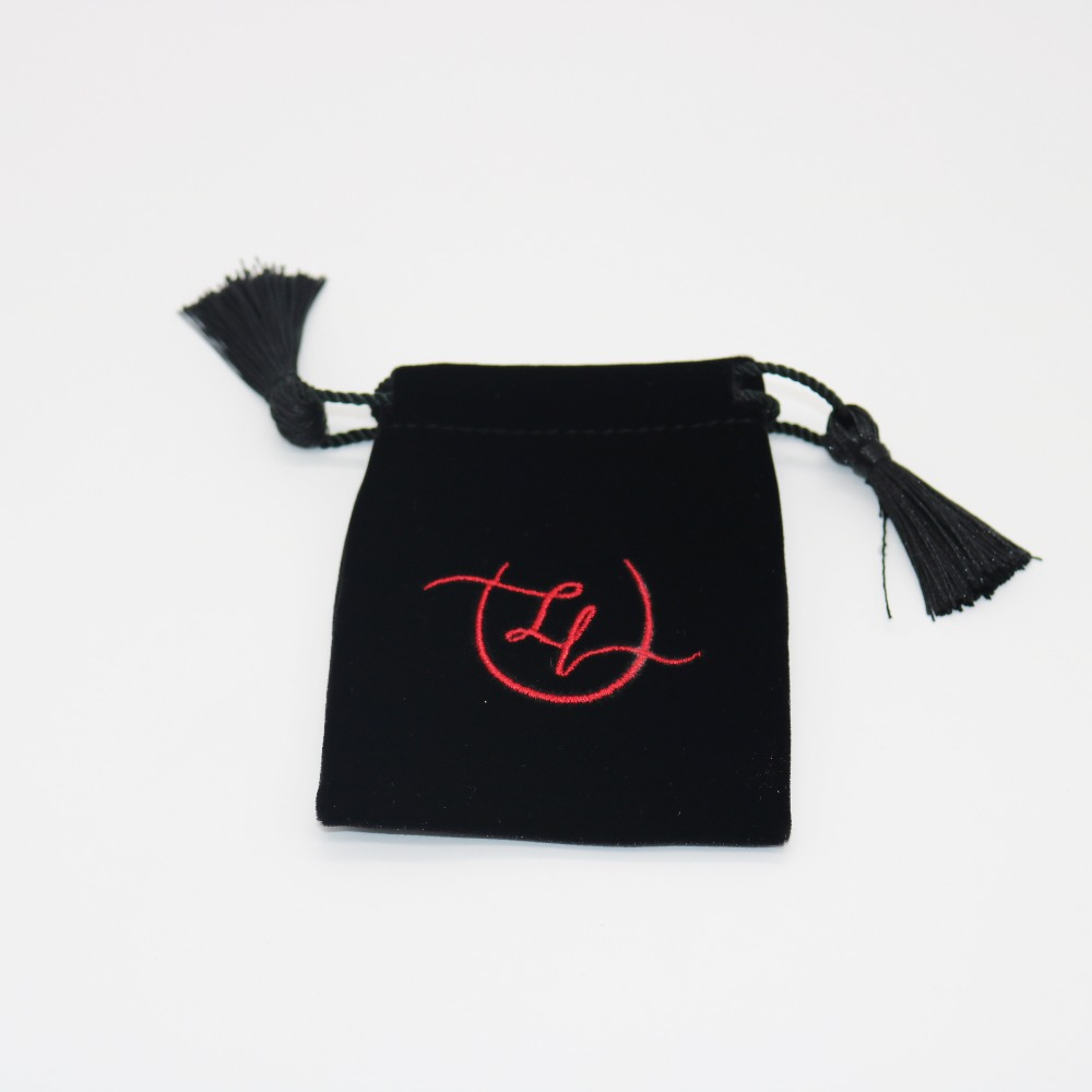 Machine Embroidery BlackVelvet Jewelry Bag With Tassel