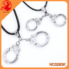 Fashion Valentine's Day Titanium Steel Couple Double Handcuffs Shape Necklace For Lovers
