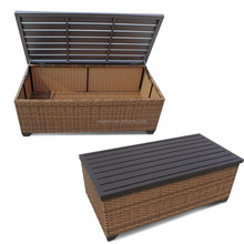 metal top brown rattan wood like storage coffee table for garden sofa set patio table