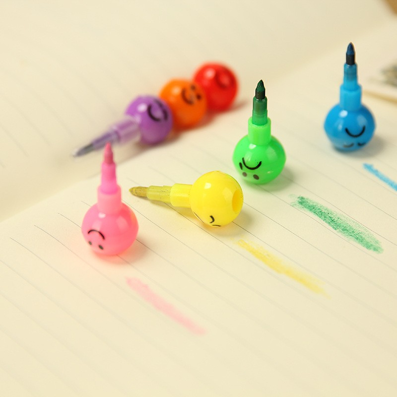Funny cartoon face coated haws 7 color pen graffiti smiley crayons ball pen