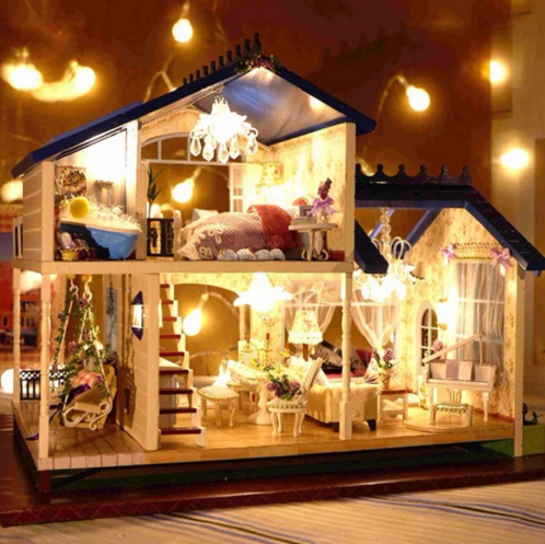 1:24 DIY Wooden Handcraft Miniature Doll house Voice-activated LED Light&Music with Cover Doll House Toys For Children