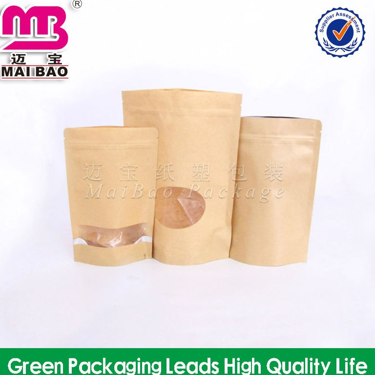 Food grade brown kraft stand up paper bag with window and zipper