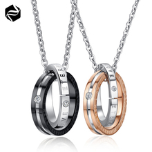 The Lord Of The Rings Pendants Set CZ Plated In Rose Gold Couple Necklace Wholesale