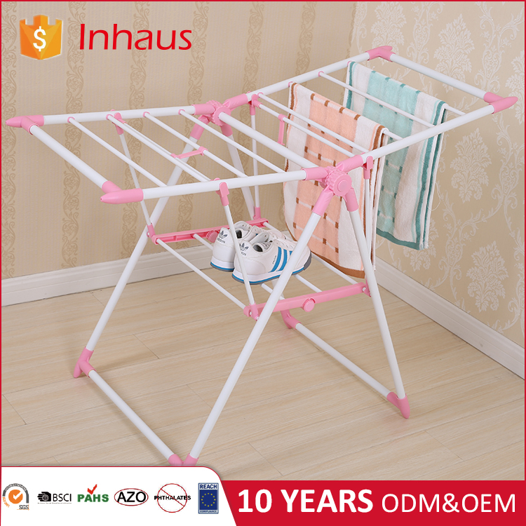 China Manufacturer Cheap Wholesale Custom baby clothes dryer pink bathroom hanging mini folding clothes rack for steaming