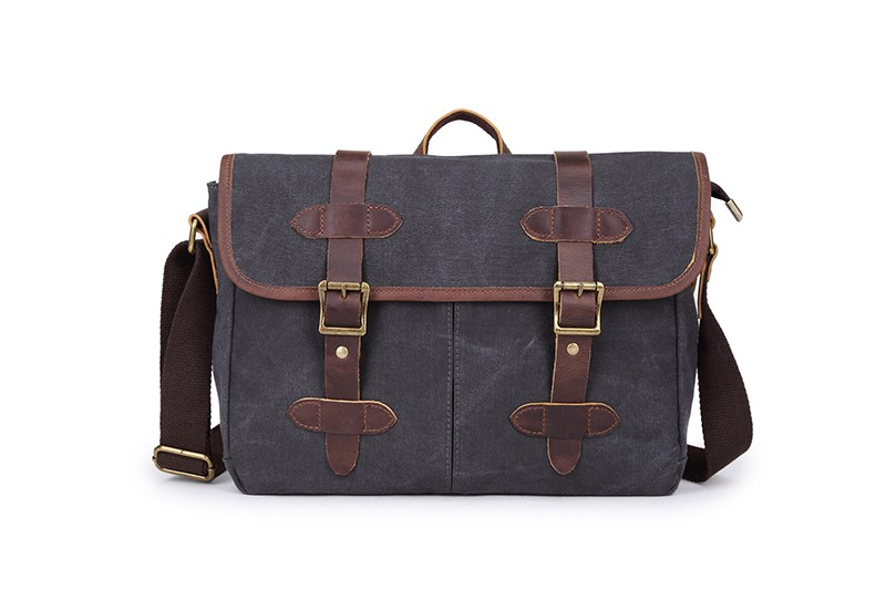Wholesale vintage canvas messenger bag leather strips , canvas shoulder bag for business travel and school teenagers