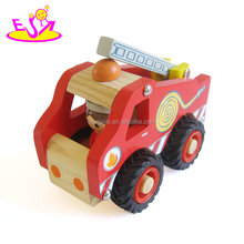 2018 New arrival mini wooden fire truck toy for toddlers W04A361