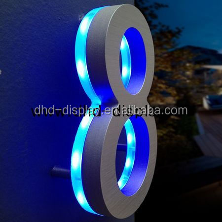 Led backlit outdoor signage metal sign stainless steel house number for decoration