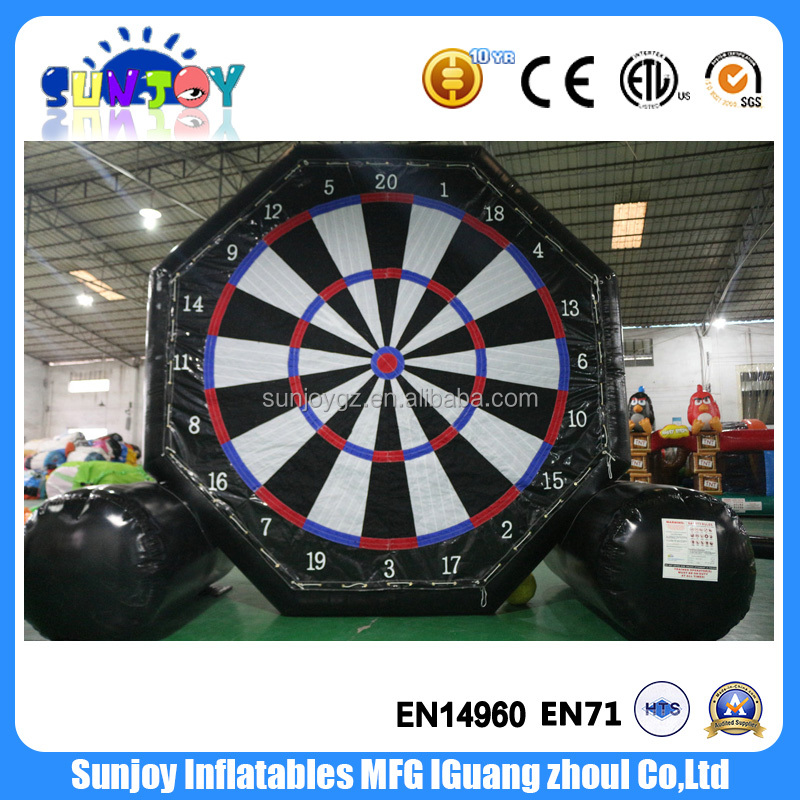 Hot selling foot game inflatable soccer dart board, velcro dart board game with balls, custom giant inflatable dart board