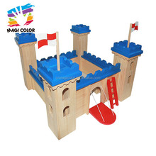 Wholesale promotional funny wooden diy assemble castle toy for toddlers W06A257