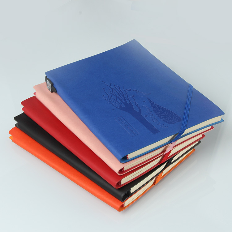 Pu Leather custom printing notebook a4 with elastic strap