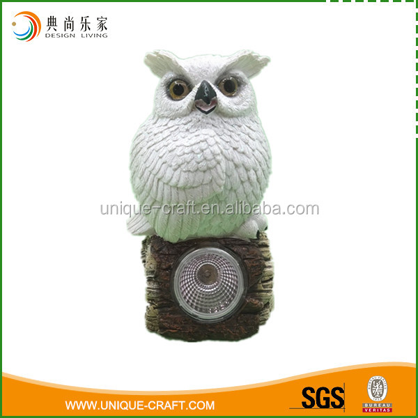 Top sell White Owl Shaped With Solar Light For Home Decooration