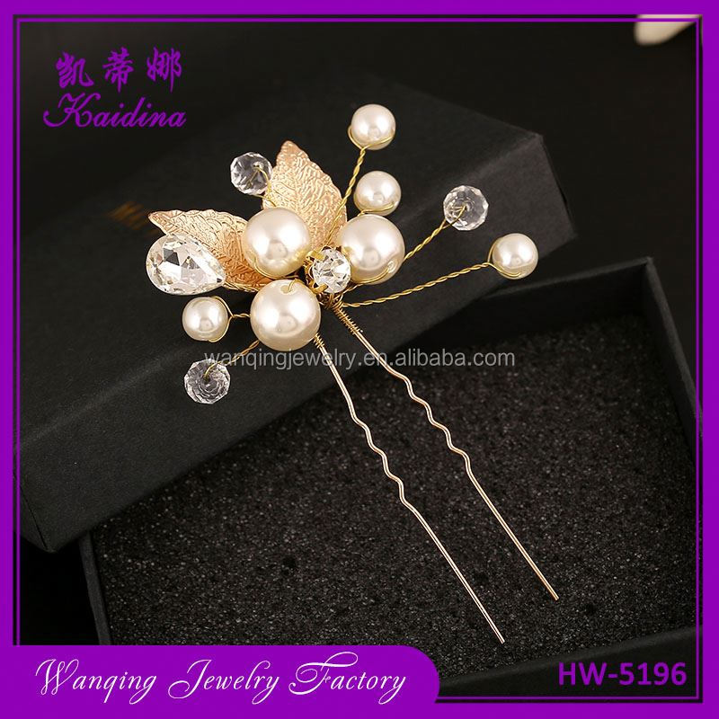 Newest selling gold leaf ornamental crystal handmade bridal hair comb
