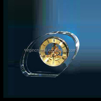 Promotional business gifts office decorations with skeleton movement crystal clock