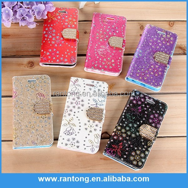 Personalized Flower Butterfly Printing Pattern Flip Leather Case Cover For iPhone 5G 5S Phone Shell