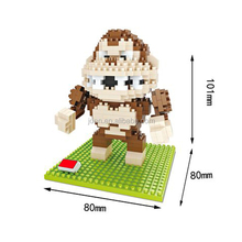 HSANHE Cartoon Zoo Animal Pattern Toys Monkey Plastic Large building blocks toys