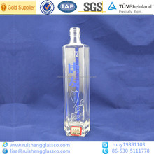 600ml square empty glass bottles with test report