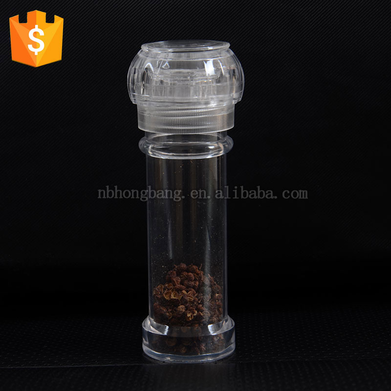 plastic salt and pepper grinder/manual pepper grinder/acrylic pepper mill