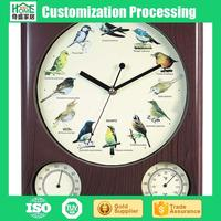 Plastic classical wall clock with bird sound creative clock with thermometer
