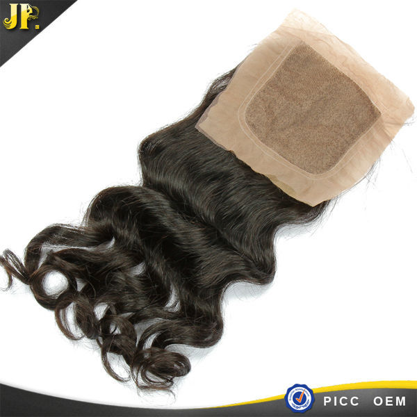 Peruvian Remy Human Hair Loose Wave Virgin Hair Silk Base Closure