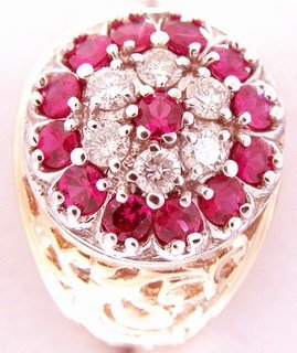 Gents 2.5 Carat Diamond And Ruby Ring