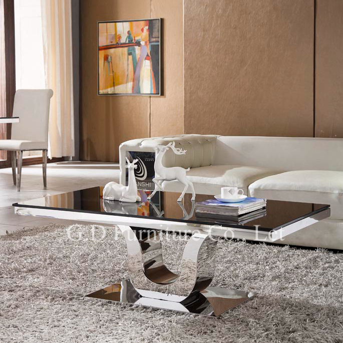 Popular model graceful lily shape table base marble top stainless steel coffee table