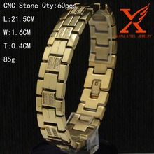 Stainless Steel Mens jewelry 18k Solid Gold Plated CNC Zircon Wrap Bracelets