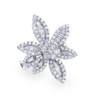 Spectecular Three Stone 18K White Gold Diamond Vintage Ring Flower Rings On Sale Where To Buy A Diamonds Jewelry