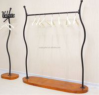 Whole sale baby girl clothes portable wood & metal hanging display rack stand