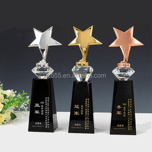 Custom crystal trophy with metal star