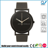 Stainless steel case genuine leather strap Japan movement 3ATM water resistant moving disk dial vogue quartz watch