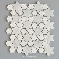 Decorative stone white marble wall random strip mosaic chinese ancient coin shaped patterns