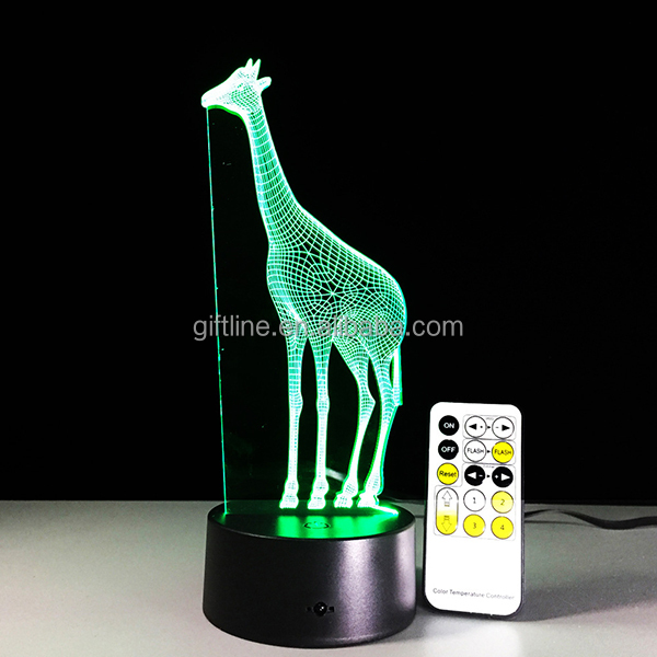 Giraffe shape led children night lights 3d led light for home deco