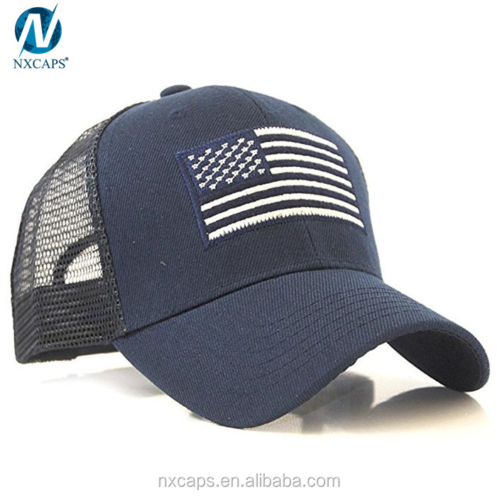 Navy blue custom baseball cap us flag patch tactical style mesh trucker cap military baseball hats