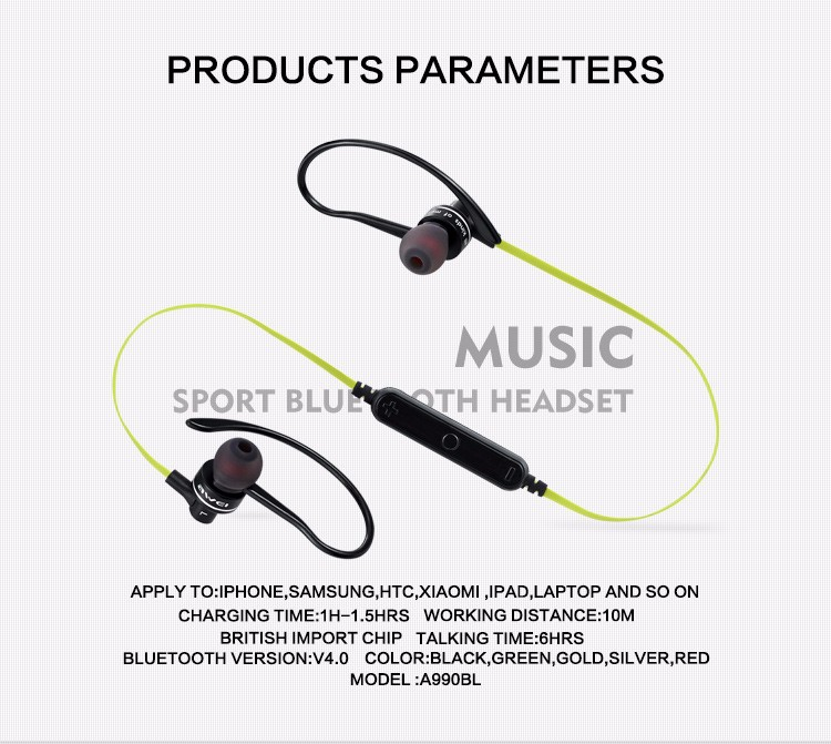 Awei A990BL Slim Extra light Mini Portable Wireless bluetooth Fashion Earphone