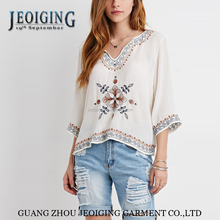 long sleeve blouse Europe 2015 Paisley Embroidered rice color in summer export clothes for woman and lady's fashion tops