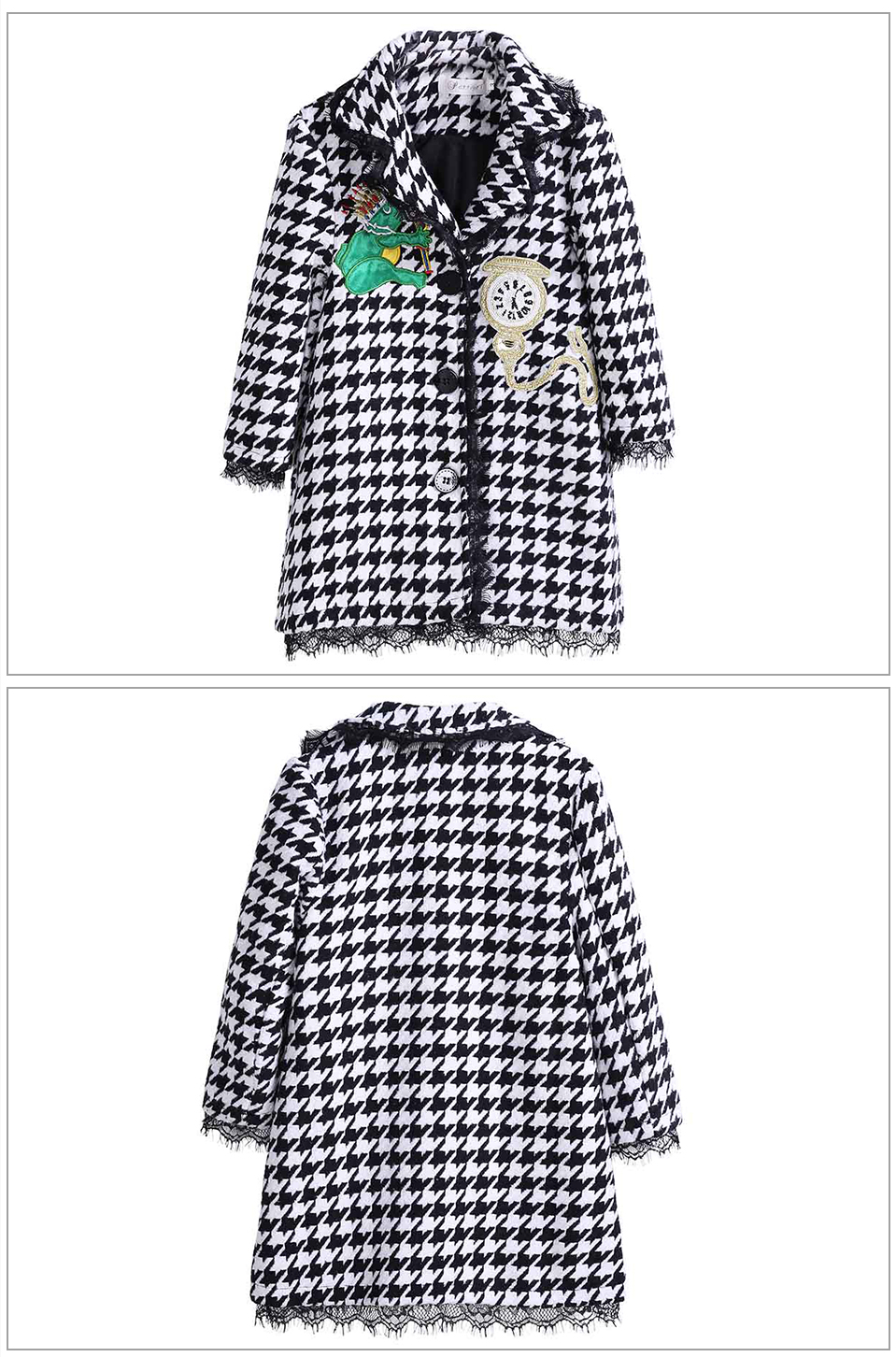 Pettigirl Plaid Long Turn-Down Collars Girls Formal Full Sleeve winter Coat