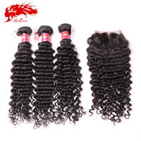 alibaba cheap deep wave brazilian virgin hair with closure for sale