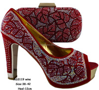 2016 Guangzhou Mikemaycall wedding wholesale african fabric shoes and bag MS3119 wine