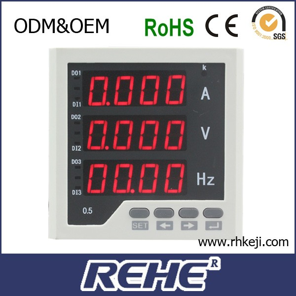 Power distribution cabinet use 96*96mm single phase digital analog amp volt and frequency combined meter