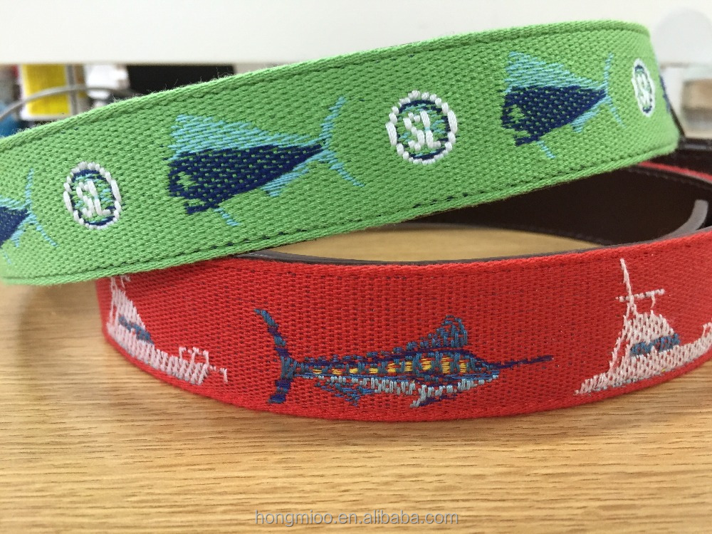 Swordfish Needlepoint embroidery designs genuine leather Belts for men