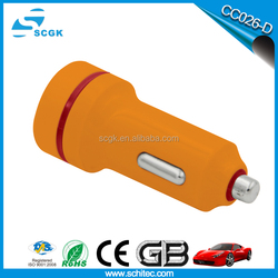Most fashional Mini Dual Usb Car Charger with 5v 2.1A Output For Free Logo Printing