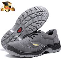 PU injected outsole suede upper safety shoes with steel toe cap and steel insole anti slip puncture resistant