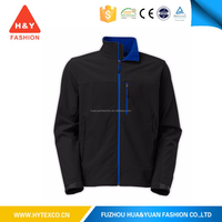 Black softshell jacket without hood lightweight waterproof 10000mm breathable jacket