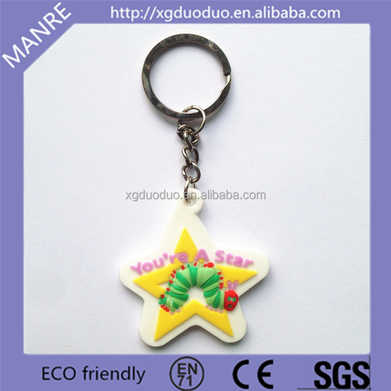 Star Shaped Soft Rubber Metal Letter Printing PVC Key chain Manufacture