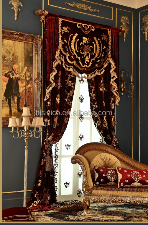 European Style Living Room Blackout Curtain,Luxury Embroidery Curtains Fabric with Valance