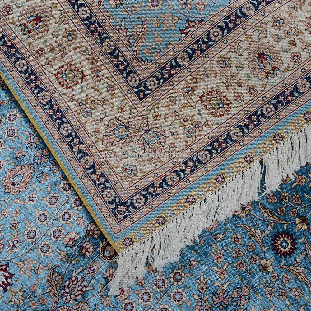 Azul Hereke Alfombra Oriental Persa De Seda Anudado Mano