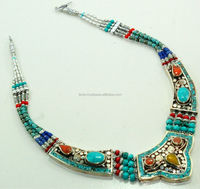 Natural turquoise Coral Lapis Gemstone Necklace, Tibetan Silver Nepali Antique Jewelry