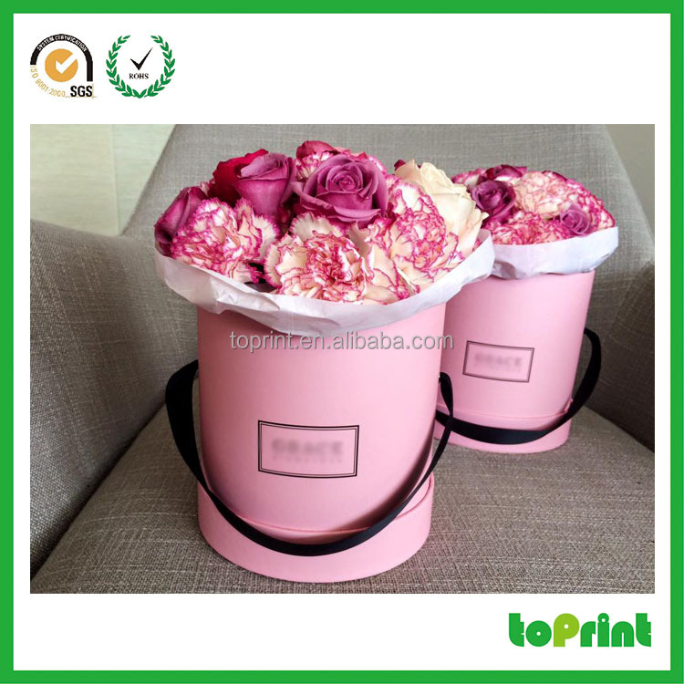 Custom round design Flower bouquets packaging boxes for beautiful rose flower