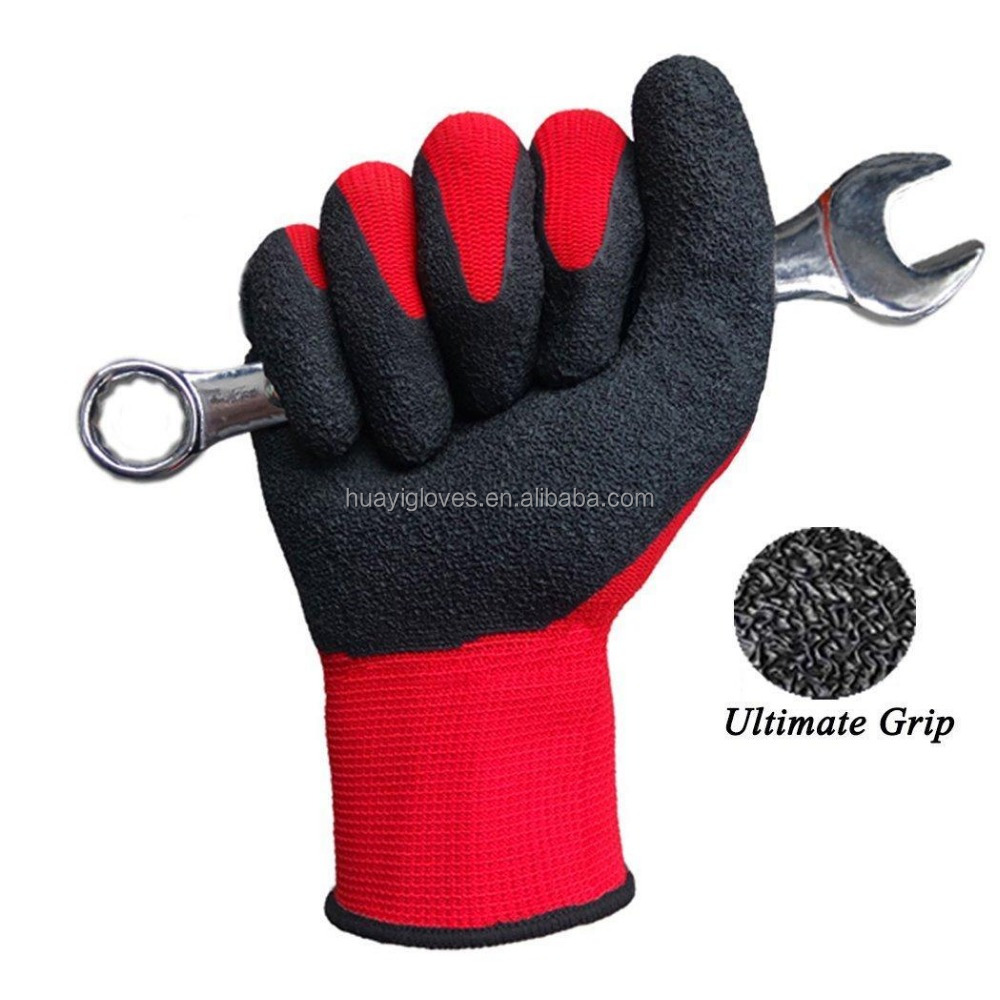 Flexible Durable Mechanic Automobile Industry Construction Garden General Purpose Use Grip Latex Handler Glove